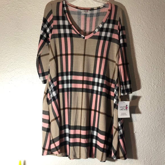 saved by the dress Dresses & Skirts - Pink plaid T-shirt dress